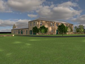 An exterior view of a barn conversion using the BIM model