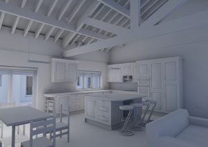 A view taken from a BIM model showing a kitchen interior rendered in white
